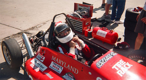 Michael Cook prepares for a race.